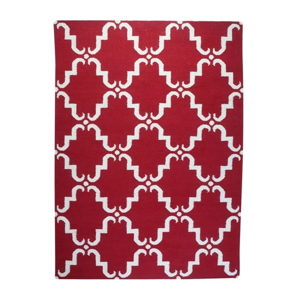Vlněný koberec Geometry Home Red & White, 160x230 cm