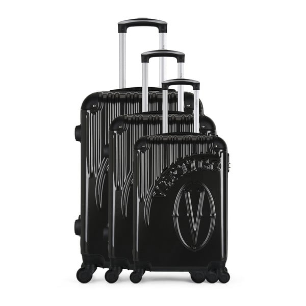 Sada 3 tmavě šedých cestovních kufrů na kolečkách VERTIGO Cadenas Integre