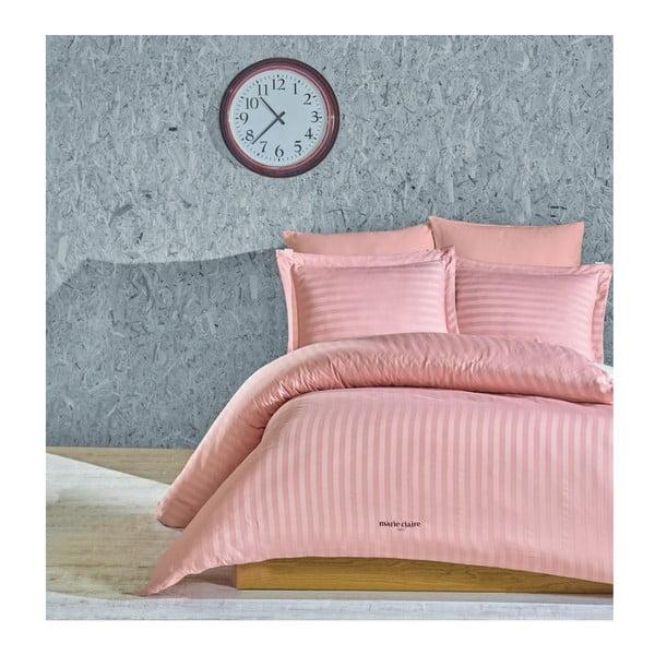 Vogue világos rózsaszín kétszemélyes ágyneműhuzat lepedővel, 200 x 220 cm