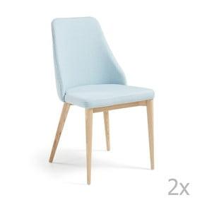 Sada 2 světle modrých jídelních židlí La Forma Roxie