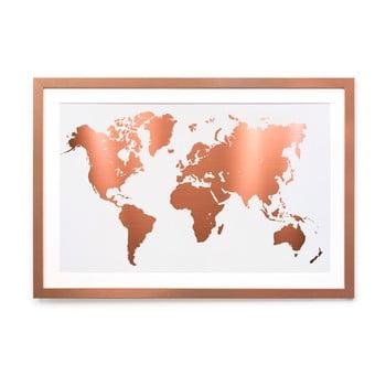 Tablou/poster înrămat Really Nice Things Mapamundi Copper, 40 x 60 cm de la Really Nice Things