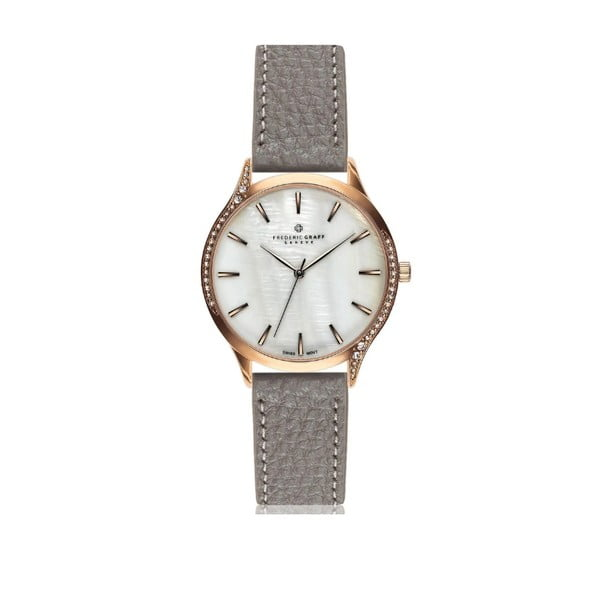 Dámske hodinky so sivým remienkom z pravej kože Frederic Graff Mauritio
