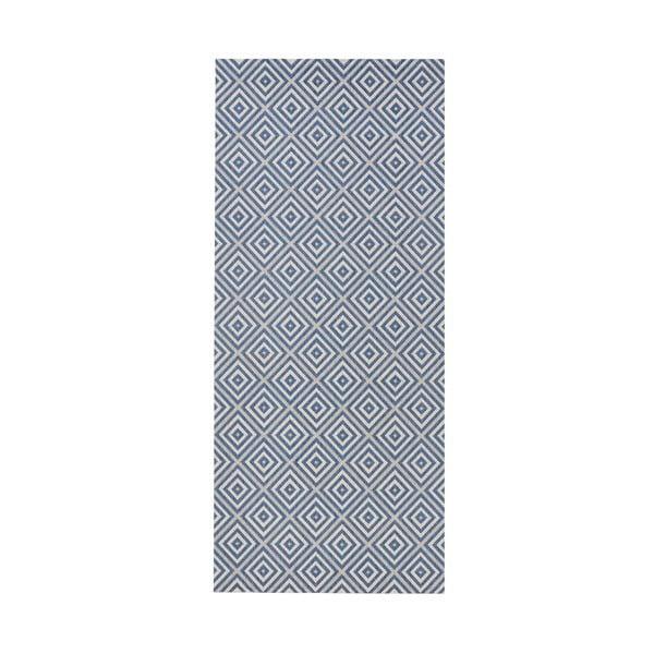 Modrý koberec vhodný aj do exteriéru Bougari Karo, 80×150 cm