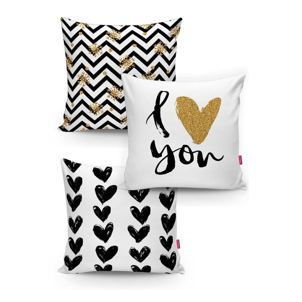 Sada 3 povlaků na polštáře s příměsí bavlny Minimalist Cushion Covers BW With Hint Of Gold, 45 x 45 cm