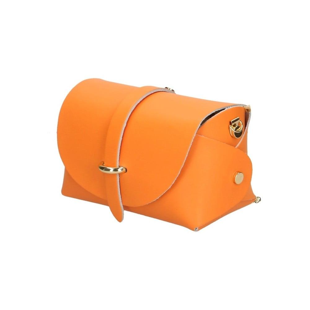 Oranžová kožená kabelka Chicca Borse Jaquel ... c7f78317a2c