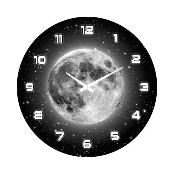 Skleněné hodiny Úplněk měsíce, 34 cm