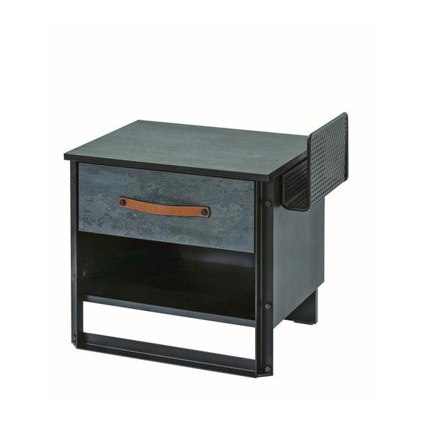Tmavě šedý noční stolek Dark Metal Nightstand