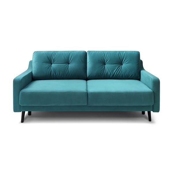 Canapea extensibilă cu 3 locuri, catifea Bobochic Paris Torp, albastru turcoaz
