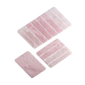 Sada 3 růžových koupelnových předložek Line Bath Mat Sima