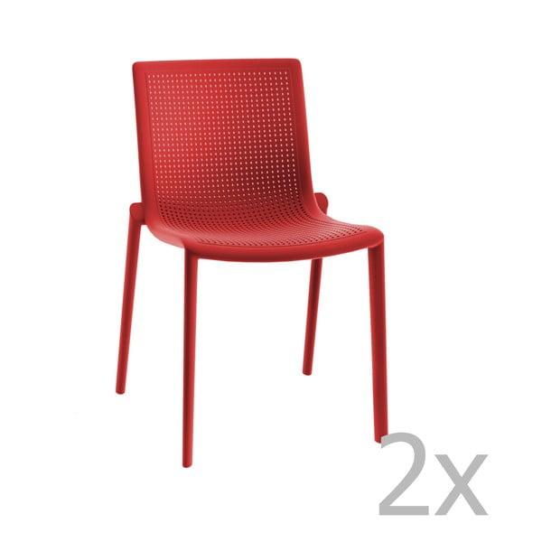 Zestaw 2 czerwonych krzeseł ogrodowych Resol Beekat Simple