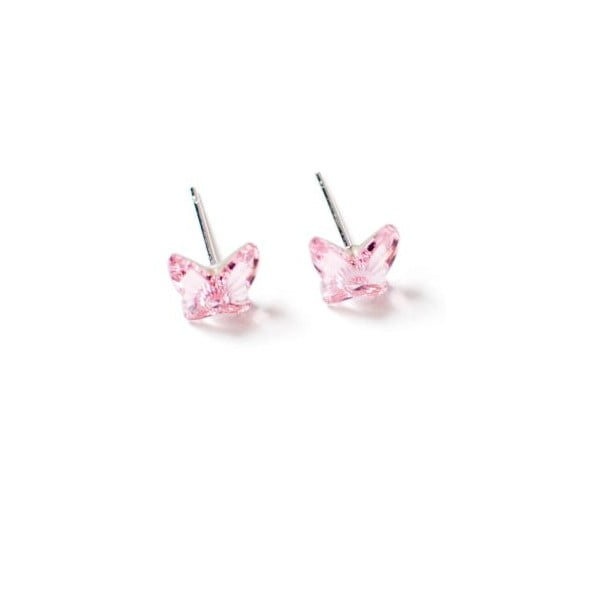 Náušnice Swarovski Elements Butterfly Pink