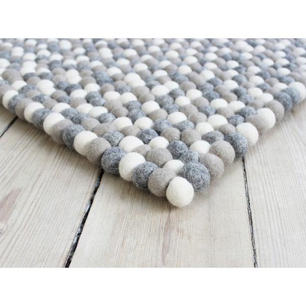 Svetlosivý guľôčkový vlnený koberec Wooldot Ball rugs, 100 x 150 cm