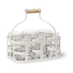 Bílá přenoska se 6 sklenicemi Garden Trading Glass Carrier