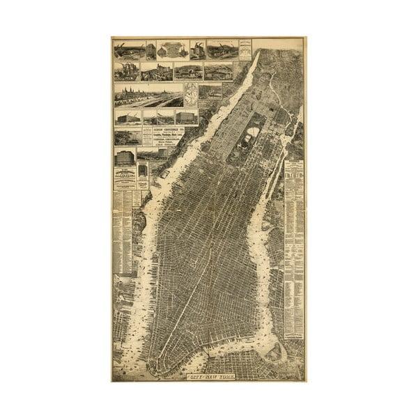 Fotoobraz Stará mapa New Yorku, 100x55 cm