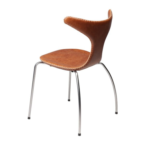 Hnědá kožená jídelní židle s kovovým podnožím DAN–FORM Denmark Dolphin