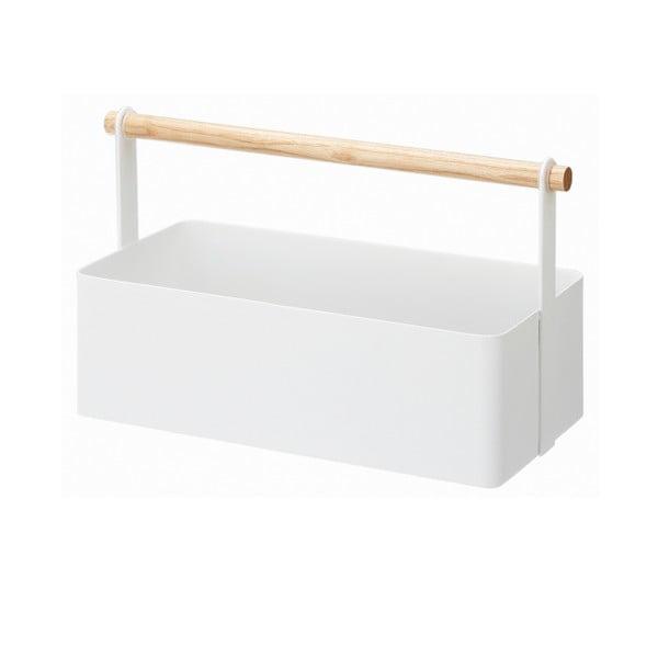 Tosca Tool Box fehér multifunkciós tárolódoboz bükkfa részletekkel, hossz 29 cm - YAMAZAKI