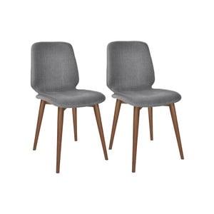 Sada 2 šedých jídelních židlí s nohami z masivního ořechového dřeva WOOD AND VISION Basic