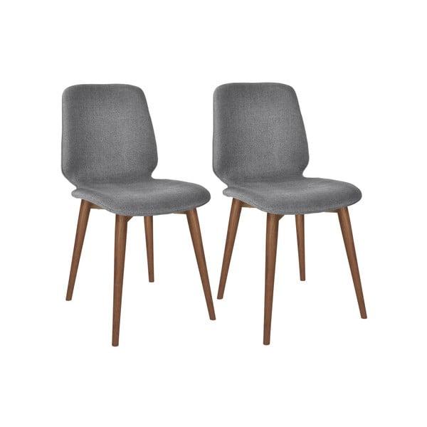Komplet 2 szarych krzeseł z nogami z litego drewna orzechowego WOOD AND VISION Basic