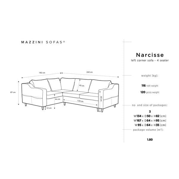 Antracitová pětimístná rozkládací pohovka s úložným prostorem Mazzini Sofas Narcisse, levý roh