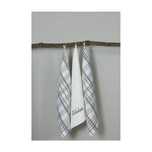 Sada 3 bílo-šedých kuchyňských utěrek My Home Plus Kitchen, 50 x 70 cm