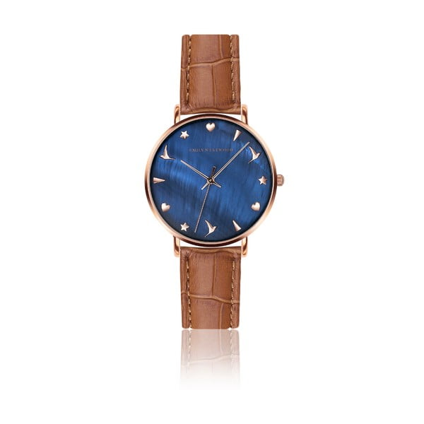 Dámske hodinky s hnedým remienkom z pravej kože Emily Westwood Daisy
