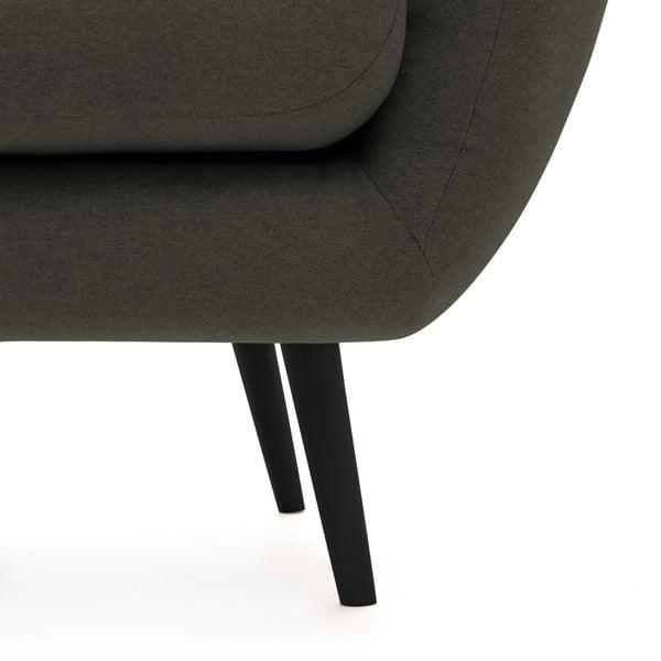 Canapea 3 locuri cu picioare negre Vivonia Kennet, gri închis