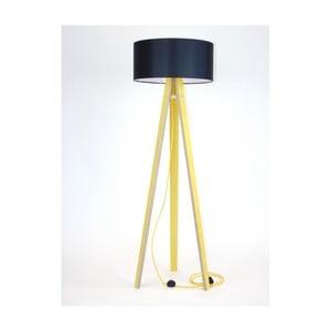 Lampă galbenă cu abajur negru și cablu galben Ragaba Wanda