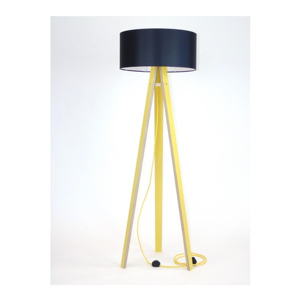 Žlutá stojací lampa s černým stínítkem a žlutým kabelem Ragaba Wanda