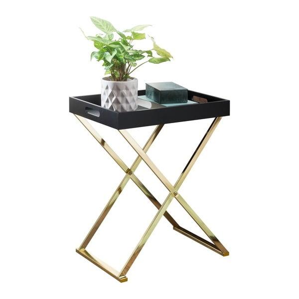 Černý příruční stolek s nohami ve zlaté barvě Skyport Nina TV, výška 61 cm