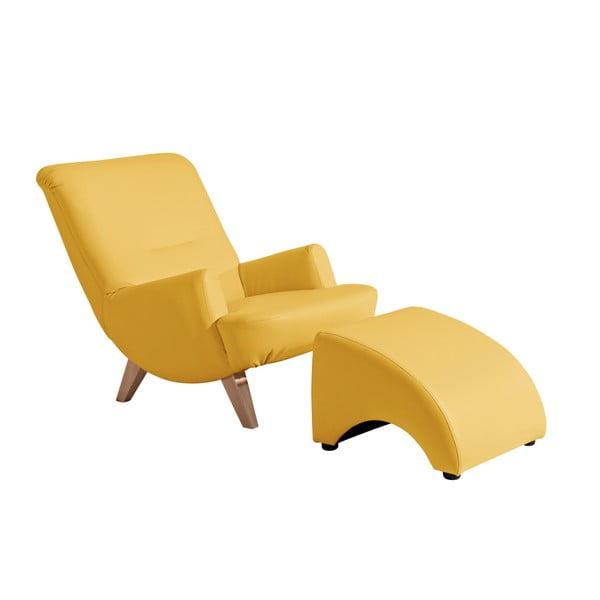 Žlutá koženková podnožka Max Winzer Brandford
