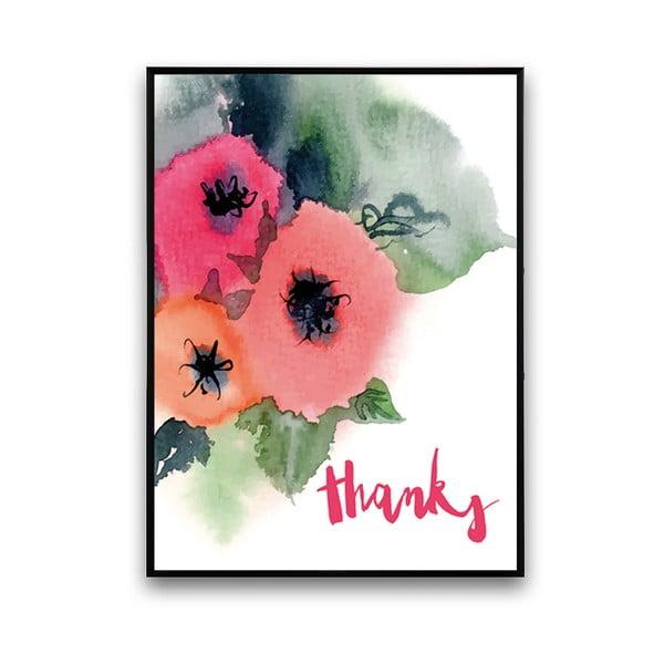 Plakát s květinami Thanks, 30 x 40 cm