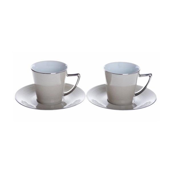 Porcelánové šálky na espresso s podšálky Béžová, 2 ks