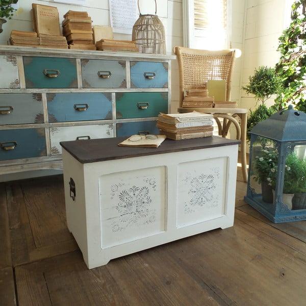 Konferenční stolek s úložným prostorem Antique White