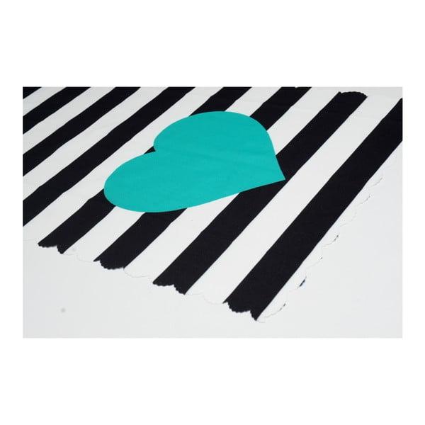 Běhoun na stůl z mikrovlákna Minimalist Cushion Covers Stripes with Blue Heart, 45x145cm