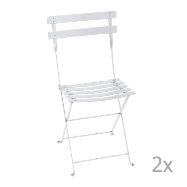 Sada 2 bílých skládacích zahradních židlí Fermob Bistro
