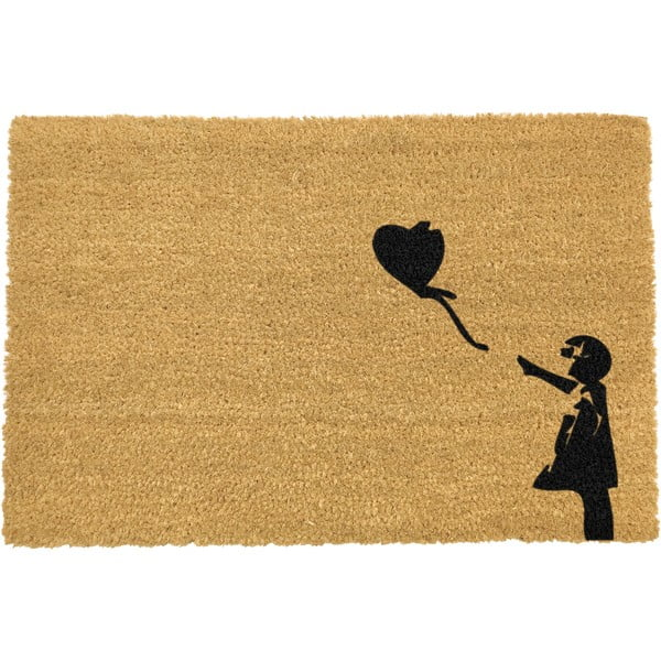Covoraș intrare din fibre de cocos Artsy Doormats Girl with a Balloon Graffiti, 40 x 60 cm