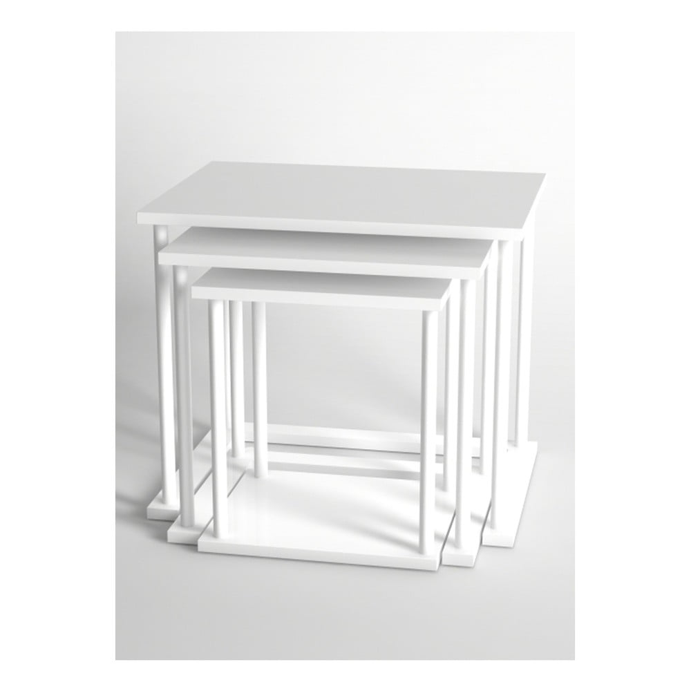 Sada 3 bílých konferenčních stolků Monte Bois
