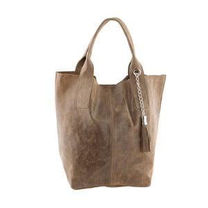 Šedohnědá kožená kabelka Ore Diece Laura