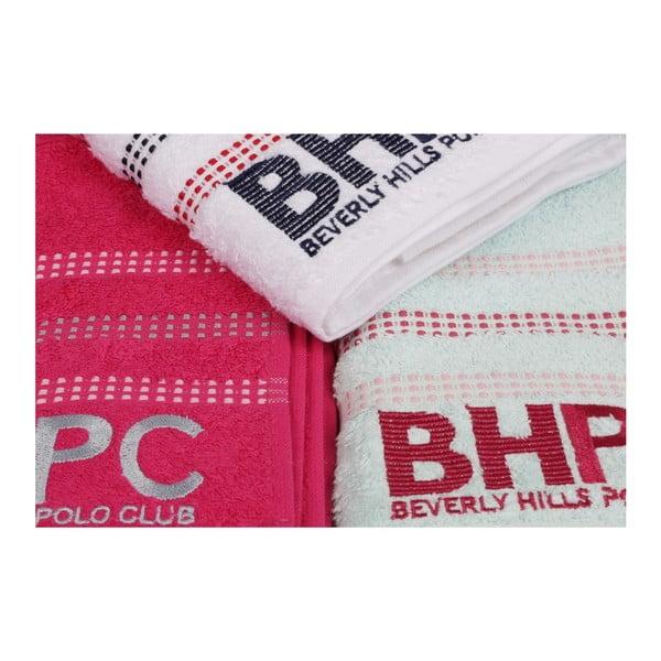 Sada mátově zeleného, bílého a fuchsiově růžového ručníku Beverly Hills Polo Club Stripes, 90x50 cm