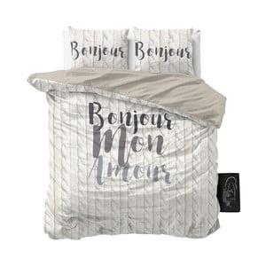 Lenjerie de pat din micropercal Sleeptime Bonjour Amour, 200 x 220 cm
