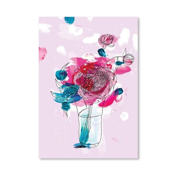 Plakát Pink Flowers 2, 30x42 cm