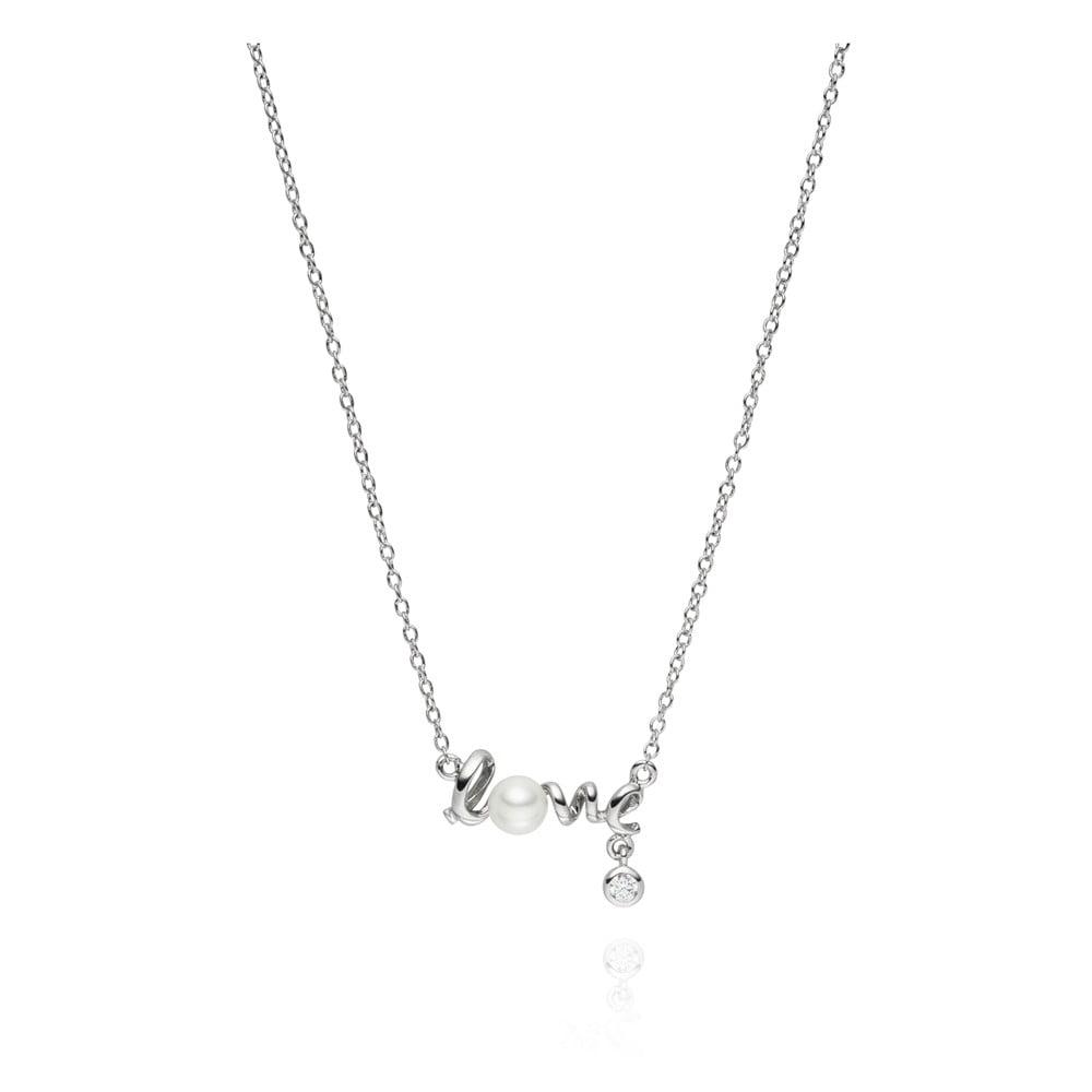 Náhrdelník s perlovým přívěskem Pearls of London Love, 42 cm