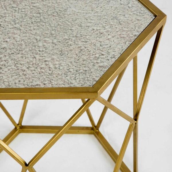 Kovový příruční stolek ve zlaté barvě Thai Natura Lanna