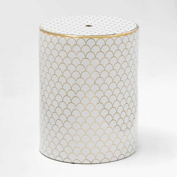 Bílo-zlatá keramická stolička Thai Natura Sarah, 33 x 43 cm