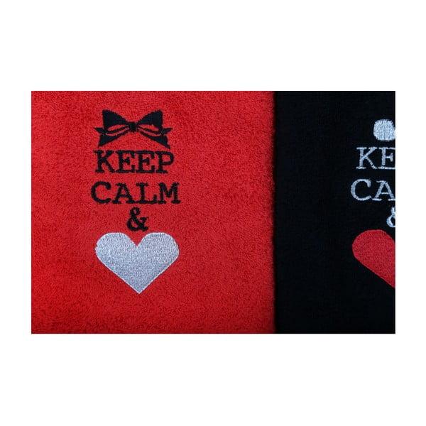 Sada 2 černo-červených bavlněných ručníků Keep Calm, 50x90cm
