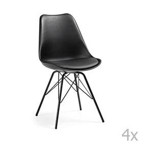 Sada 4 černých židlí s kovovými nohami La Forma Lars