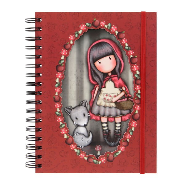 Červený linkovaný sešit Santoro London Gorjuss Little Red Riding Hood