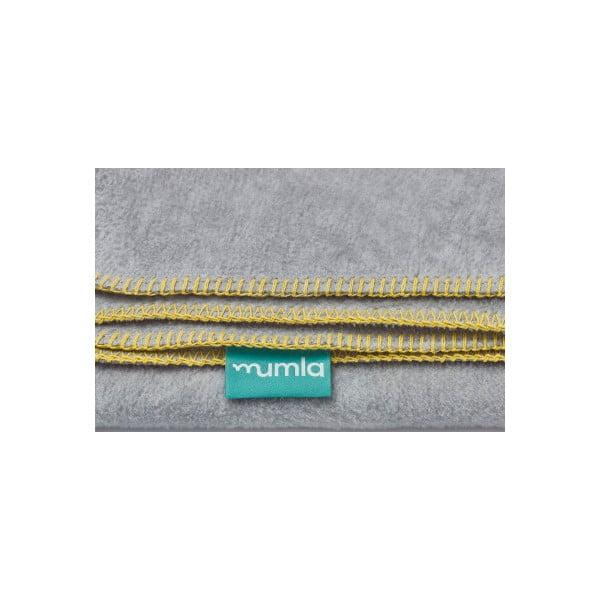 Šedá bavlněná deka se žlutým lemem Mumla,100x150cm