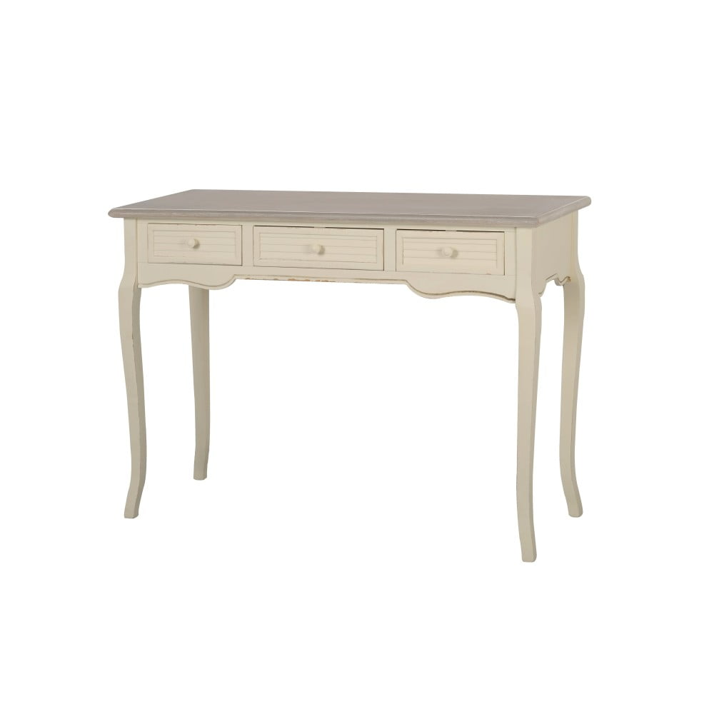Krémový konzolový stolek z topolového dřeva se 3 zásuvkami Livin Hill Pesaro
