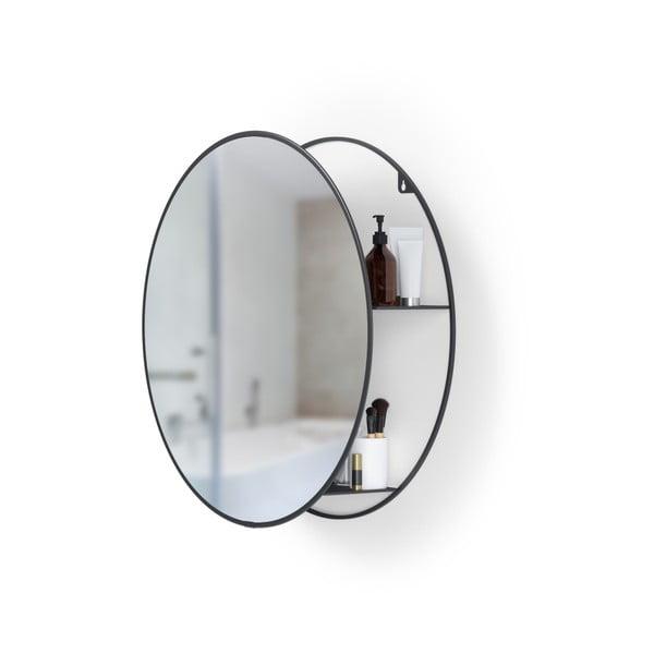 Oglindă rotundă de perete cu raft metalic Umbra Cirko, negru